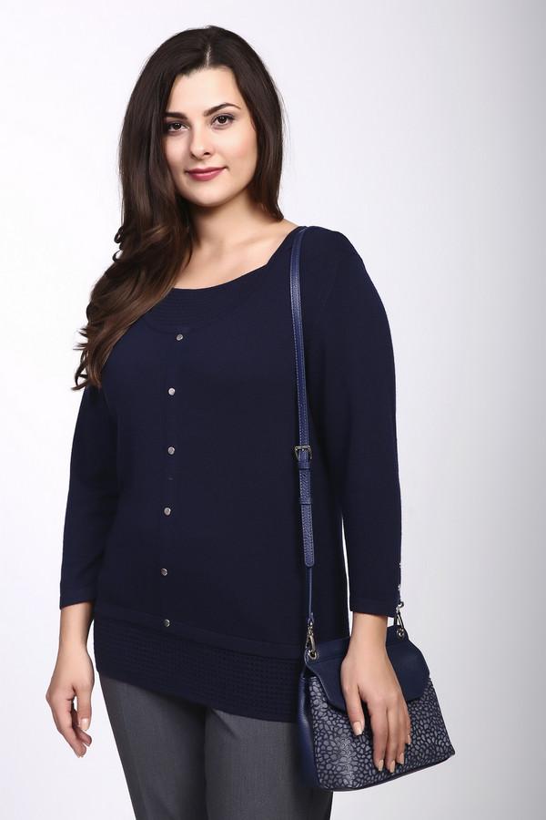 Пуловер PezzoПуловеры<br><br><br>Размер RU: 54<br>Пол: Женский<br>Возраст: Взрослый<br>Материал: полиамид 35%, вискоза 46%, шерсть 19%<br>Цвет: Синий
