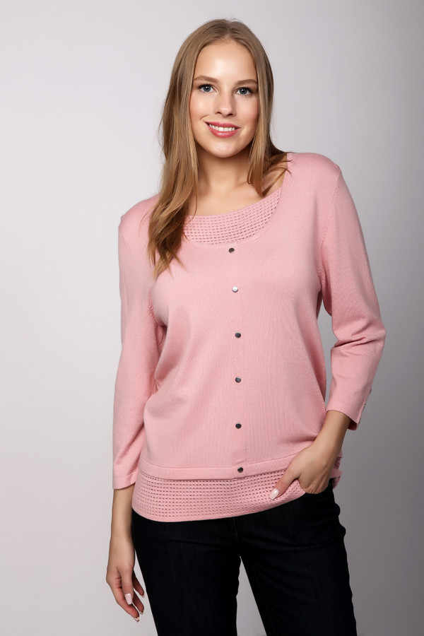Пуловер PezzoПуловеры<br><br><br>Размер RU: 50<br>Пол: Женский<br>Возраст: Взрослый<br>Материал: полиамид 35%, вискоза 46%, шерсть 19%<br>Цвет: Розовый