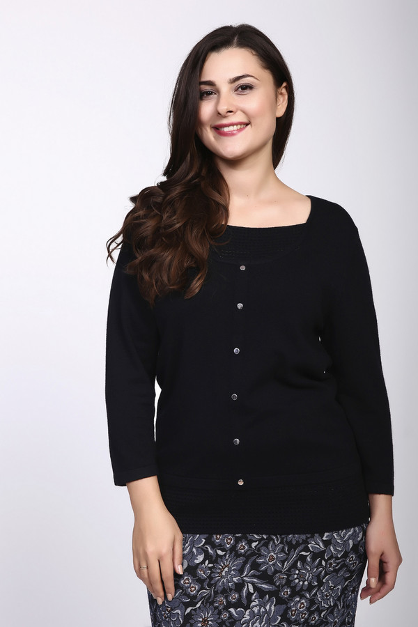 Пуловер PezzoПуловеры<br><br><br>Размер RU: 44<br>Пол: Женский<br>Возраст: Взрослый<br>Материал: полиамид 35%, вискоза 46%, шерсть 19%<br>Цвет: Чёрный
