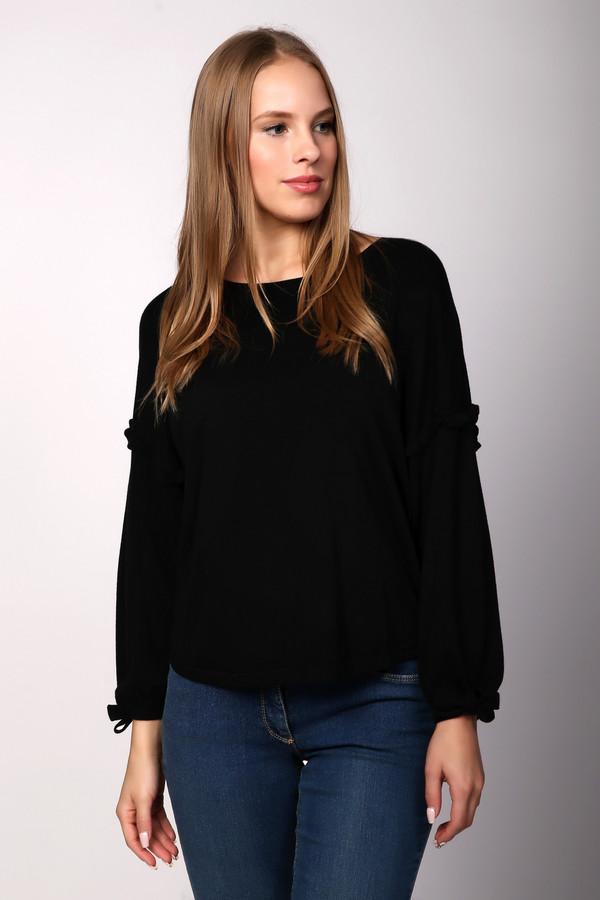 Пуловер OuiПуловеры<br>Пуловер женский черного цвета фирмы Oui. Модель выполнена прямым фасоном. Изделие дополнено округлым воротом, приспущенными, длинными рукавами, боковыми выемками. Ткань состоит из 30% вискозы, 57% хлопок, 10% шелка, 3% кашемира. Сочетать можно с различными брюками.