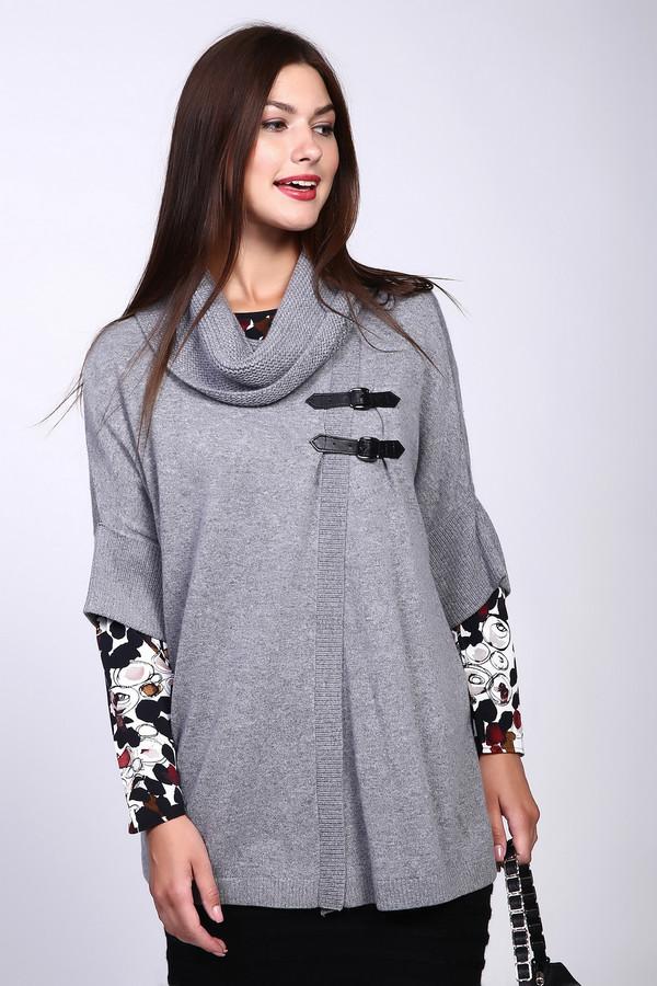 Пуловер PezzoПуловеры<br>Изысканный пуловер-пончо от бренда Pezzo свободного кроя выполнен из приятного на ощупь трикотажа серого оттенка. Изделие дополнено воротом-хомут и укороченными рукавами с отворотом. Пуловер декорирован контрастными ремешками из эко-кожи. Модель подходит для демисезонного периода и идеально сочетается с брюками и юбками.