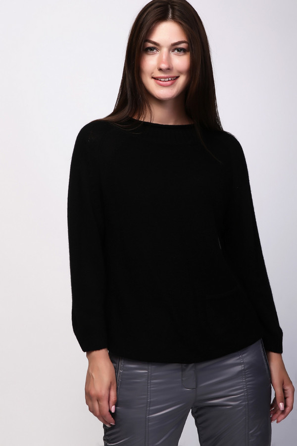 Пуловер Just ValeriПуловеры<br><br><br>Размер RU: 42<br>Пол: Женский<br>Возраст: Взрослый<br>Материал: шерсть 80%, кашемир 20%<br>Цвет: Чёрный
