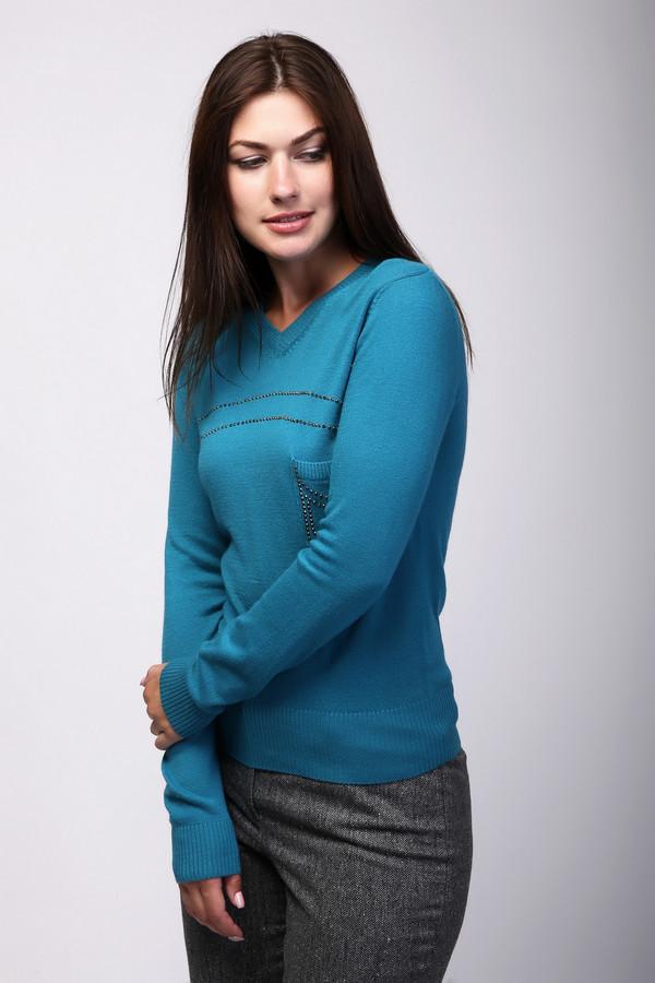 Пуловер PezzoПуловеры<br>Бирюзовый женский пуловер от бренда Pezzo прилегающего силуэта выполнен из приятной на ощупь пряжи. Изделие дополнено v-образным вырезом, одним нагрудным карманом и длинными рукавами. Благодаря яркому цвету и декором из страз, пуловер не выглядит простым. Гармонично подойдет для аутфита на корпоратив.