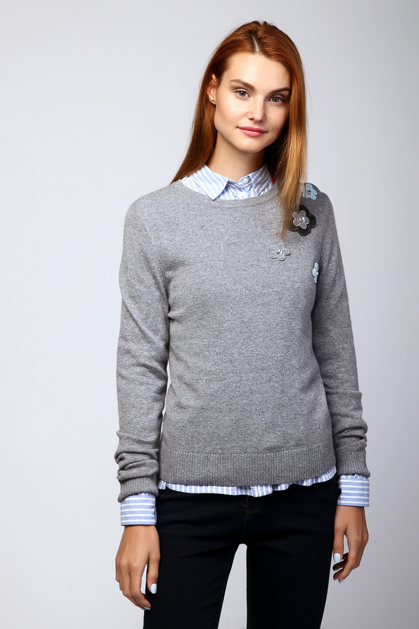 Пуловер PezzoПуловеры<br><br><br>Размер RU: 42<br>Пол: Женский<br>Возраст: Взрослый<br>Материал: вискоза 33%, полиамид 23%, шерсть 20%, хлопок 20%, кашемир 4%<br>Цвет: Серый