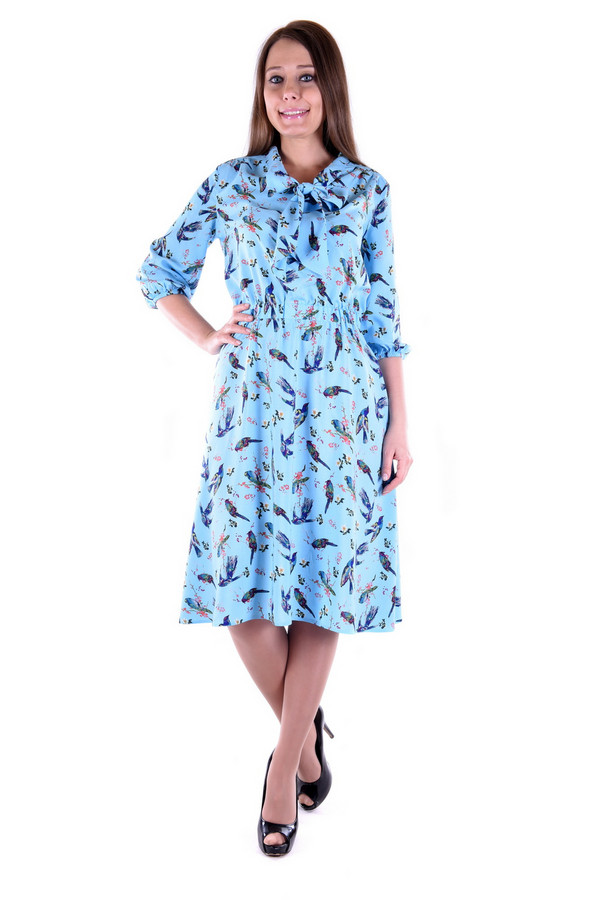 Платье OLBEПлатья<br><br><br>Размер RU: 48<br>Пол: Женский<br>Возраст: Взрослый<br>Материал: вискоза 100%<br>Цвет: Голубой