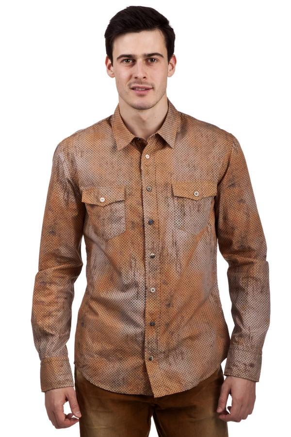 мужская рубашка с длинным рукавом boss orange, коричневая