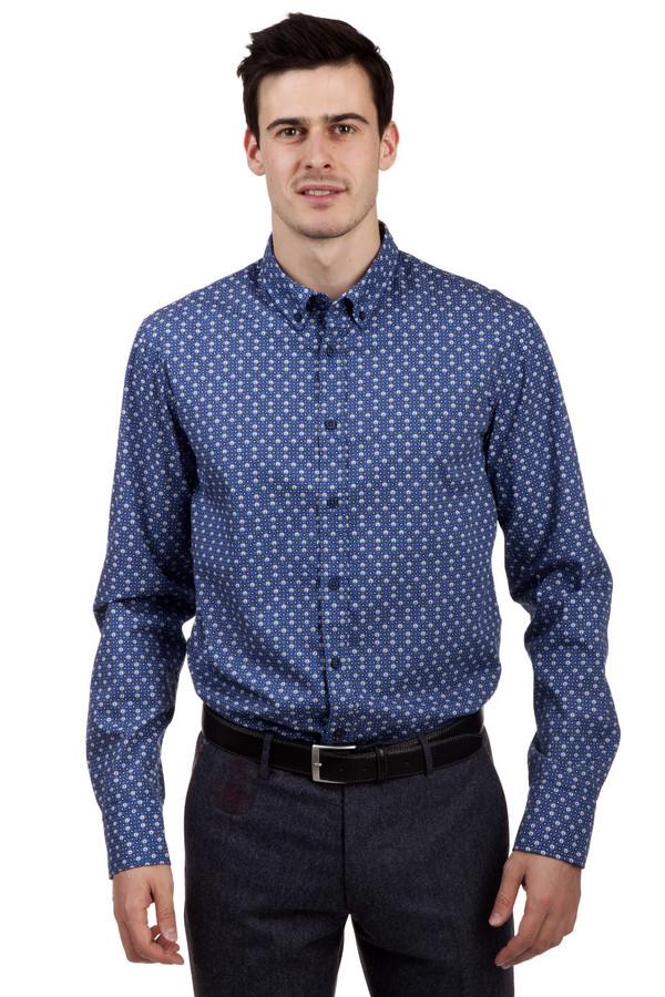 Рубашка Boss OrangeРубашки и сорочки<br>Синяя стильная рубашка бренда Boss Orange прямого кроя. Изделие дополнено: классическим отложным воротником с пуговицами на уголках, длинными рукавами и манжетами на пуговицах. Центральная часть застегивается на пуговицы. Рубашка декорирована актуальным геометрическим принтом с черепами.<br><br>Размер RU: 46<br>Пол: Мужской<br>Возраст: Взрослый<br>Материал: хлопок 100%<br>Цвет: Синий