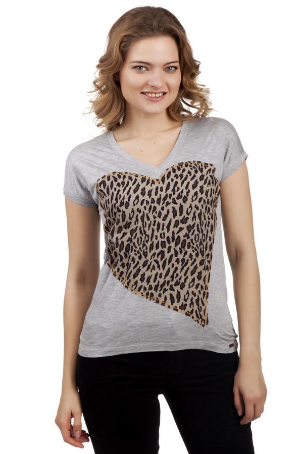Футболка Boss OrangeФутболки<br>Женственная серая футболка Boss Orange прилегающего кроя. Изделие дополнено: v-образным вырезом и короткими рукавами. Модель представлена из приятного на ощупь вискозного материала. Футболка декорирована леопардовым принтом в форме сердечка.<br><br>Размер RU: 40-42<br>Пол: Женский<br>Возраст: Взрослый<br>Материал: вискоза 100%<br>Цвет: Серый
