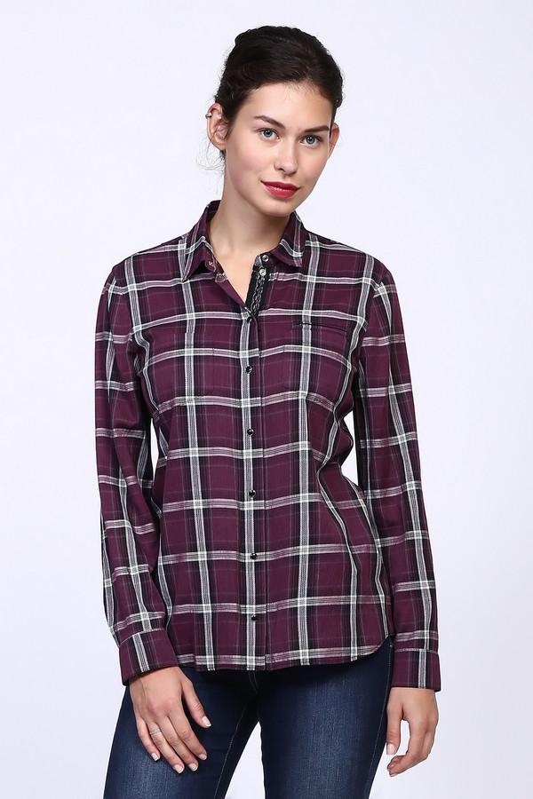 Блузa SteilmannБлузы<br>Блуза фиолетового цвета имеет клетчатый принт. Блуза дополнена откладным воротом на стойке с застежкой на заклепки. Состав ткани состоит из 60% вискозы и 40% полиэстера. Рукава длинные с манжетой на заклепку. Блуза выполнена в классическом прямом покрое. На переднем полотне изделия расположены карманы. Низ блузы подшит полукругом, длинна до бедер. Блуза имеет очень стильный фасон, который всегда вас выручит во время подбора наряда для активного отдыха.