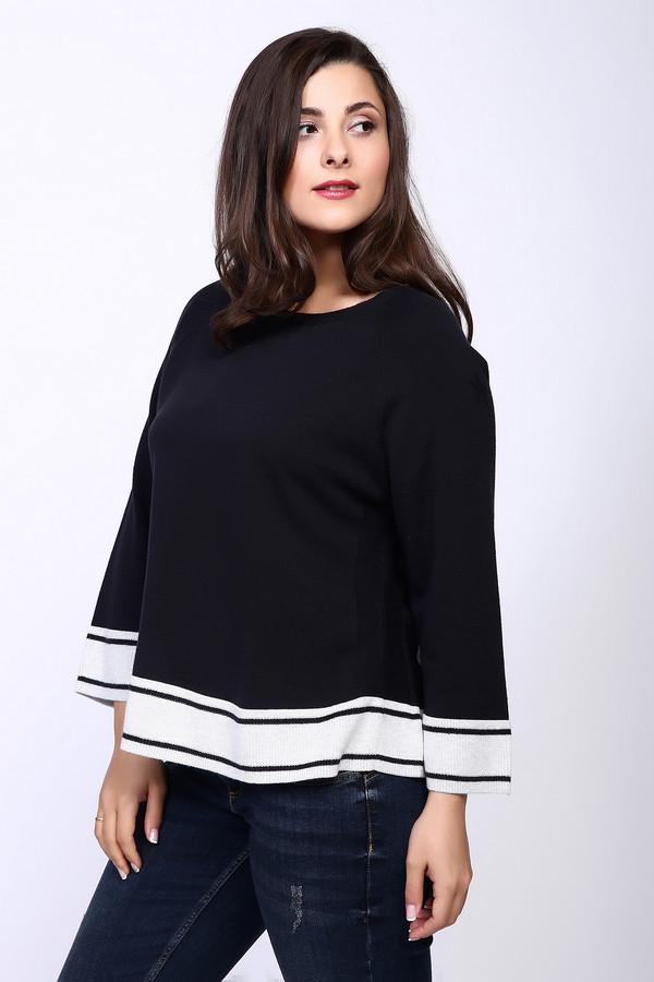 Пуловер OuiПуловеры<br>Пуловер женский черного цвета фирмы Oui. Модель выполнена прямым фасоном. Изделие дополнено круглым воротом, длинными рукавами реглан. Ткань состоит из 100% хлопка. На пуловере расположены полосы белого цвета. Такой фасон делает модель оригинальной и неповторимой. Сочетать можно с различными брюками, юбками.