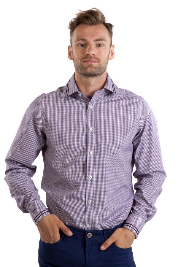 Рубашка с длинным рукавом Just ValeriДлинный рукав<br>Модная мужская белая рубашка Just Valeri в фиолетовую клетку прямого кроя. Изделие дополнено: классическим воротником, длинными рукавами и манжетами с застежкой на пуговицах. Центральная часть застегивается на планку с пуговицами. Воротник и манжеты декорированы черными и коричневыми полосками.<br><br>Размер RU: 43<br>Пол: Мужской<br>Возраст: Взрослый<br>Материал: хлопок 40%, полиэстер 60%<br>Цвет: Сиреневый