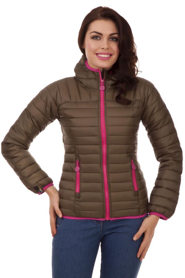 Куртка Boxeur Des RuesКуртки<br>Стеганная оливковая куртка Boxeur Des Rues приталенного кроя. Изделие дополнено: капюшоном, двумя внешними боковыми карманами на ярко-розовой молнии, двумя внутренними карманами. Центральная часть изделия застегивается на молнию розового цвета с внутренней ветрозащитной планкой. Капюшон декорирован принтом с символикой и названием бренда, манжеты и нижний кант оформлены ярко-розовой оторочкой. Подкладка и утеплитель 100% полиэстер.<br><br>Размер RU: 40-42<br>Пол: Женский<br>Возраст: Взрослый<br>Материал: полиэстер 100%<br>Цвет: Коричневый