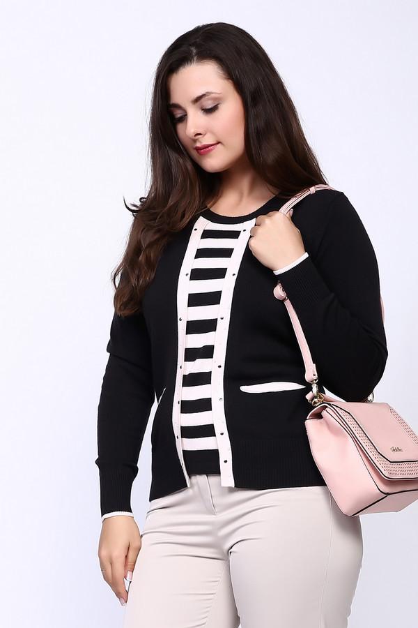 Пуловер Eugen KleinПуловеры<br>Пуловер черного цвета фирмы Eugen Klein. Ткань состоит из 14% эластана, 40% полиакрила и 46% модала. Модель выполнена прямым покроем. Пуловер дополнен округлым воротом, втачными, длинными рукавами, вставке, выполненной из полосатой ткани. Пуловер украшен белой тканью, выделяет данного изделие среди многих других.