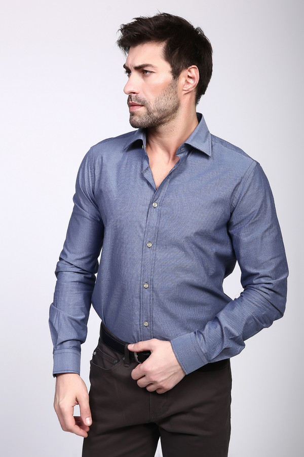 Рубашка с длинным рукавом PezzoДлинный рукав<br><br><br>Размер RU: 45<br>Пол: Мужской<br>Возраст: Взрослый<br>Материал: хлопок 100%<br>Цвет: Синий