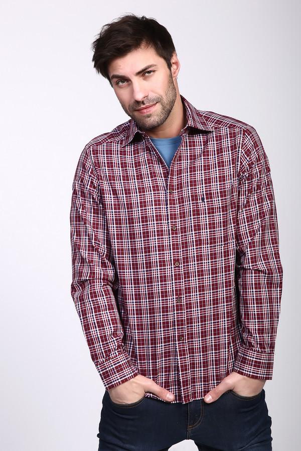 Рубашка с длинным рукавом PezzoДлинный рукав<br>Рубашка с длинными рукавами мужская красного цвета от бренда Pezzo. Модель выполнена прямым фасоном. Изделие дополнено откладным воротом на стойке, застежка на пуговицы, втачными, длинными рукавами с манжетами на пуговицу, передним, накладным карманом. Ткань имеет клетчатый принт. Состав ткани: 100% хлопка. Комбинировать можно с различными брюками.