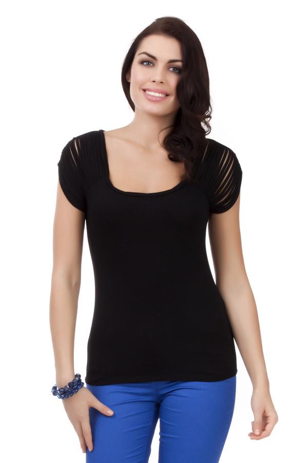 Футболка Just ValeriФутболки<br>Стильная черная футболка от бренда Just Valeri прилегающего кроя выполнена из вискозного материала с добавлением спандекса. Изделие дополнено: u-образным вырезом и короткими рукавами. Рукава и спинка декорированы прорезями.<br><br>Размер RU: 44<br>Пол: Женский<br>Возраст: Взрослый<br>Материал: вискоза 95%, спандекс 5%<br>Цвет: Чёрный
