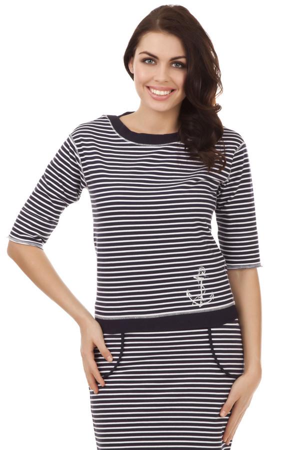 Футболка Just ValeriФутболки<br>Полосатая футболка в морском стиле от бренда Just Valeri прямого кроя выполнена из плотного хлопка. Изделие дополнено круглым вырезом и короткими рукавами. Футболка декорирована принтом в виде якоря. В комплект к футболке подходит  юбка от бренда Just Valeri .<br><br>Размер RU: 46<br>Пол: Женский<br>Возраст: Взрослый<br>Материал: хлопок 100%<br>Цвет: Разноцветный