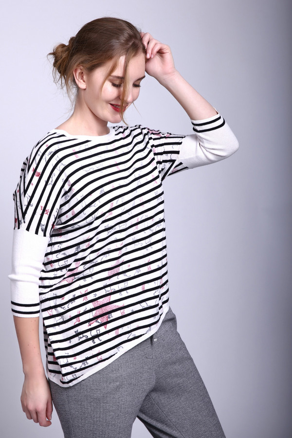 Пуловер OuiПуловеры<br><br><br>Размер RU: 46<br>Пол: Женский<br>Возраст: Взрослый<br>Материал: хлопок 100%<br>Цвет: Разноцветный
