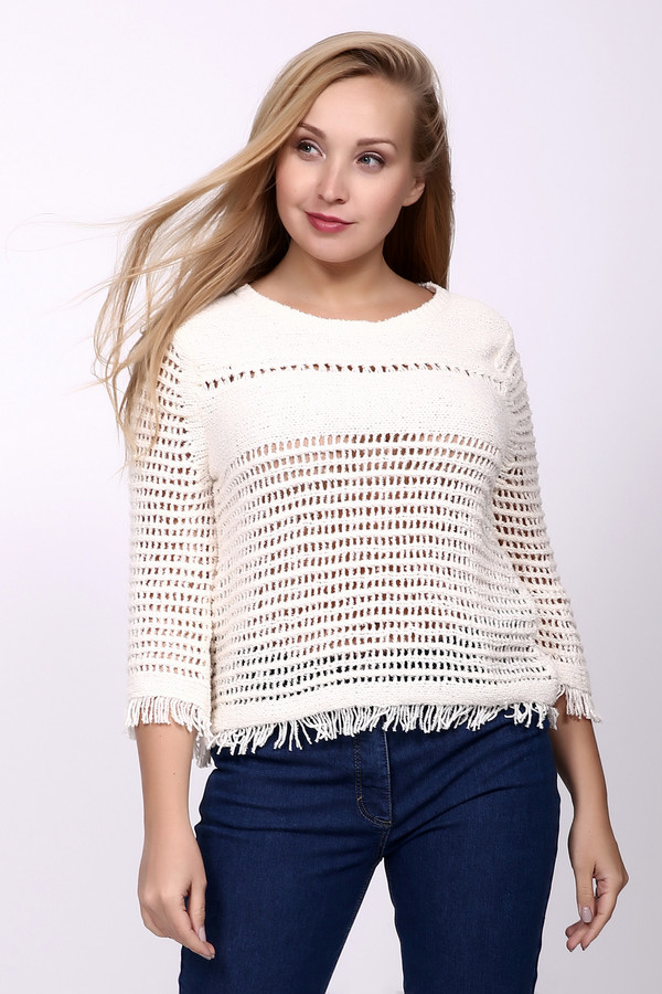 Пуловер Luisa CeranoПуловеры<br><br><br>Размер RU: 50<br>Пол: Женский<br>Возраст: Взрослый<br>Материал: полиамид 20%, хлопок 80%<br>Цвет: Белый