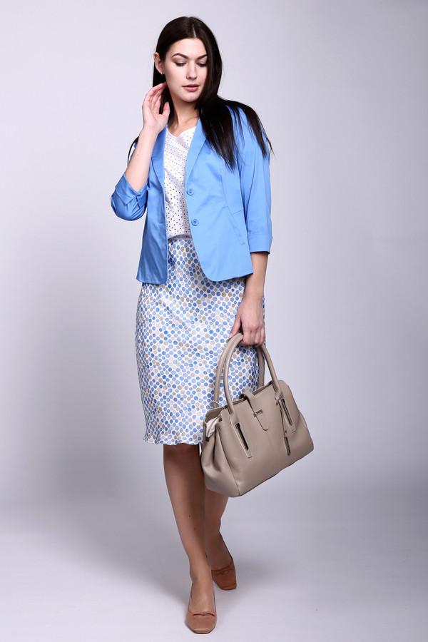 Юбка SteilmannЮбки<br>Летняя юбка голубого цвета фирмы Steilmann имеет принт в горошек. Модель выполнена прямым покроем . Принт в горошек придает юбке привлекательность. В теплое время года всегда будет комфортно и удобно. В сочетании с другими деталями гардероба можете внести разнообразие своего образа.
