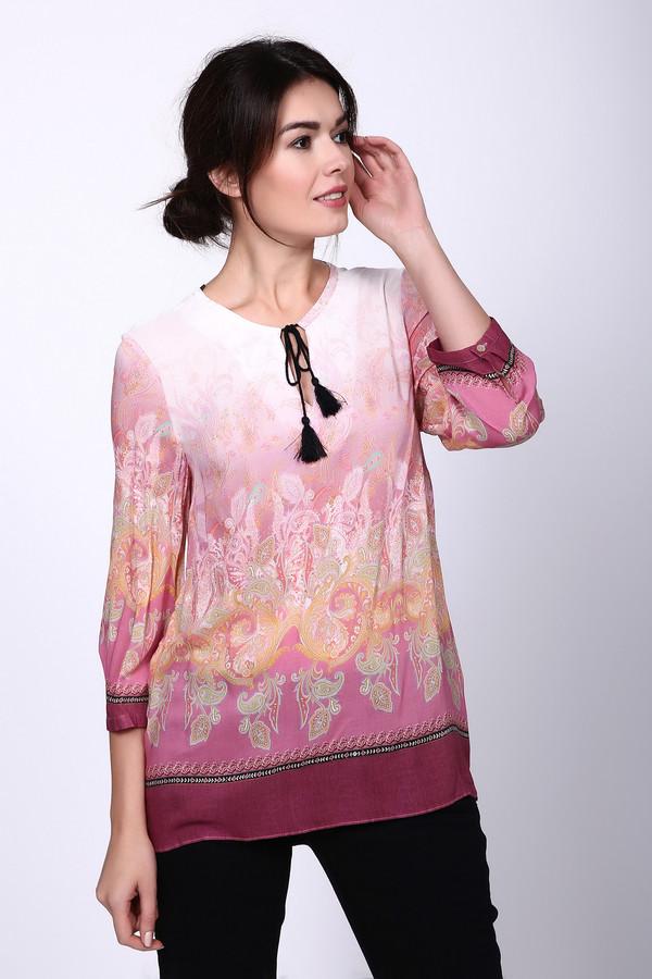 Блузa SteilmannБлузы<br>Блуза розового цвета фирмы Steilmann. Блуза выполнена прямым покроем. Ворот округлый, рукава 3/4 длинны с манжетами на пуговицу. Ткань выполнена из 100% вискозы. Изделие дополнено круглым воротом с разрезом  капля . Ворот обшит бейкой, через которую продет декоративный шнур и представляет собой завязку. Длинна блузки до бедер. Модель прекрасно дополнит брюки . Не повторимые переходы от светлого розового к темному розовому придает привлекательность данной блузе.