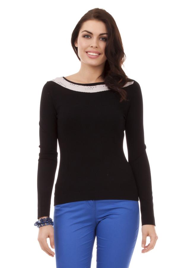 Пуловер PezzoПуловеры<br>Пуловер для женщин от бренда Pezzo. Это пуловер черного цвета с светло-бежевой вставкой. Изделие выполнено из вискозы с добавлением нейлона. Оно дополнено круглым вырезом, длинным рукавом, а также серебрянными квадратными стразами.<br><br>Размер RU: 54<br>Пол: Женский<br>Возраст: Взрослый<br>Материал: вискоза 80%, нейлон 20%<br>Цвет: Чёрный