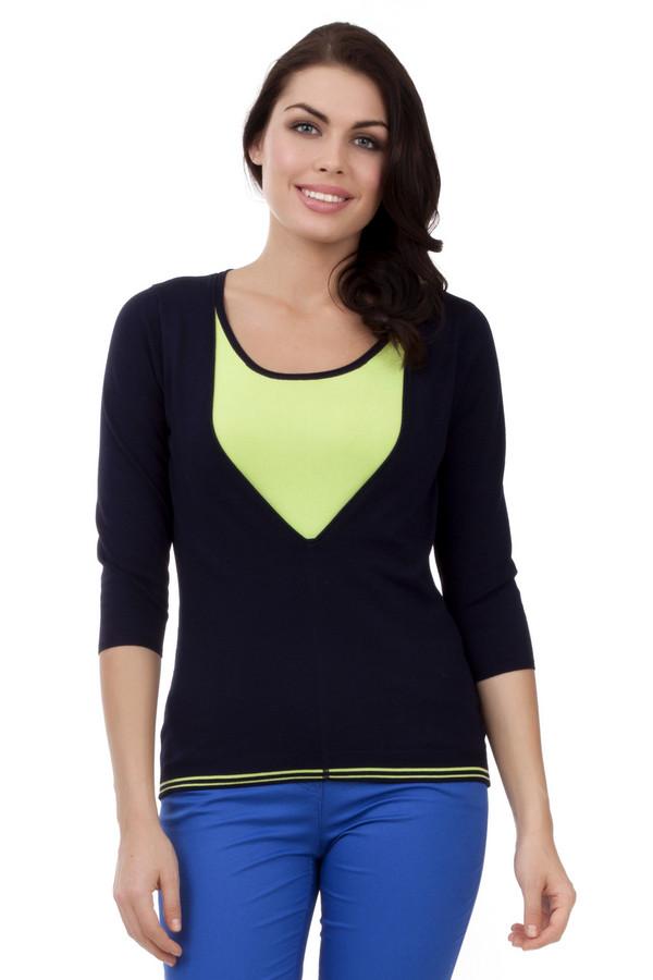 Пуловер PezzoПуловеры<br>Модный женский пуловер от бренда Pezzo. Это пуловер темно-синего цвета со вставкой салатового цвета на груди и двумя салатовыми полосками снизу на резинке. Изделие дополнено: круглым вырезом и рукавом три четверти. Данный пуловер пошит из вискозы с добавлением нейлона.<br><br>Размер RU: 48<br>Пол: Женский<br>Возраст: Взрослый<br>Материал: вискоза 80%, нейлон 20%<br>Цвет: Разноцветный