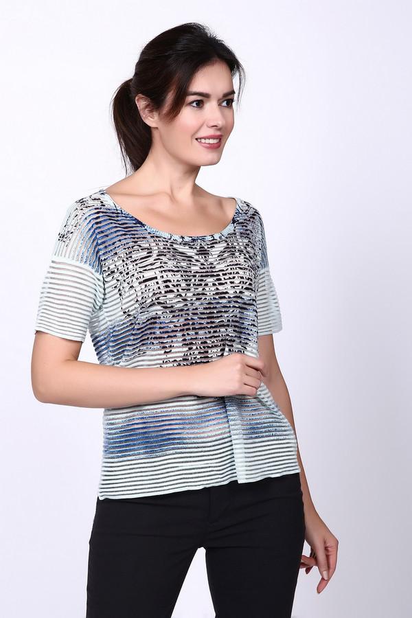 Пуловер PezzoПуловеры<br>Пуловер женский голубого цвета от бренда Pezzo. Модель выполнена прямым фасоном. Изделие дополнено округлым воротом, короткими рукавами. На передней части расположен рисунок. Ткань состоит из 95% вискоза, 2% полиэстер, 3% нейлон. Комбинировать можно с различными брюками.