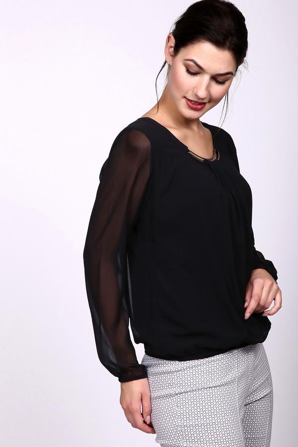 Блузa TaifunБлузы<br>Блуза фирмы Taifun черного цвета. Модель дополнена круглым воротом, длинными рукавами, выполненными из прозрачной ткани. Сама блуза посажена на чехол, тем самым дает возможность использовать на торжествах. Ворот впереди декорирован металлической скобой , на которой сделана сборка из данного материала и это отличает своей нарядностью. Низ рукава и блузки посажены на резинку, поэтому прекрасно фиксируется на бедрах.<br><br>Размер RU: 46<br>Пол: Женский<br>Возраст: Взрослый<br>Материал: полиэстер 100%<br>Цвет: Чёрный