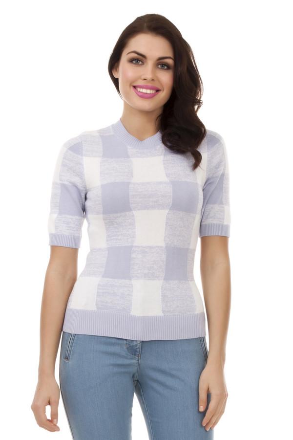 Пуловер PezzoПуловеры<br>Модный женский пуловер в бело-сиреневую клетку от бренда Pezzo. У этой модели круглый вырез на резинке, низ на резинке, а также рукав на резинке, длиной до середины плеча. Данный пуловер выполнен в технике тонкой вязки из тонкого материала, в состав которого входит хлопок и вискоза, поэтому свитер очень мягкий на ощупь.<br><br>Размер RU: 42<br>Пол: Женский<br>Возраст: Взрослый<br>Материал: вискоза 60%, хлопок 40%<br>Цвет: Разноцветный