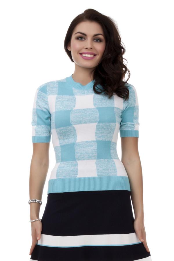 Пуловер PezzoПуловеры<br>Стильный пуловер для женщин от бренда Pezzo. Изделие дополнено: круглым вырезом и рукавом длиной до середины плеча. Это пуловер в бело-голубую клетку, выполненный в технике мелкой вязки из вискозы с добавлением хлопка.<br><br>Размер RU: 48<br>Пол: Женский<br>Возраст: Взрослый<br>Материал: вискоза 60%, хлопок 40%<br>Цвет: Разноцветный