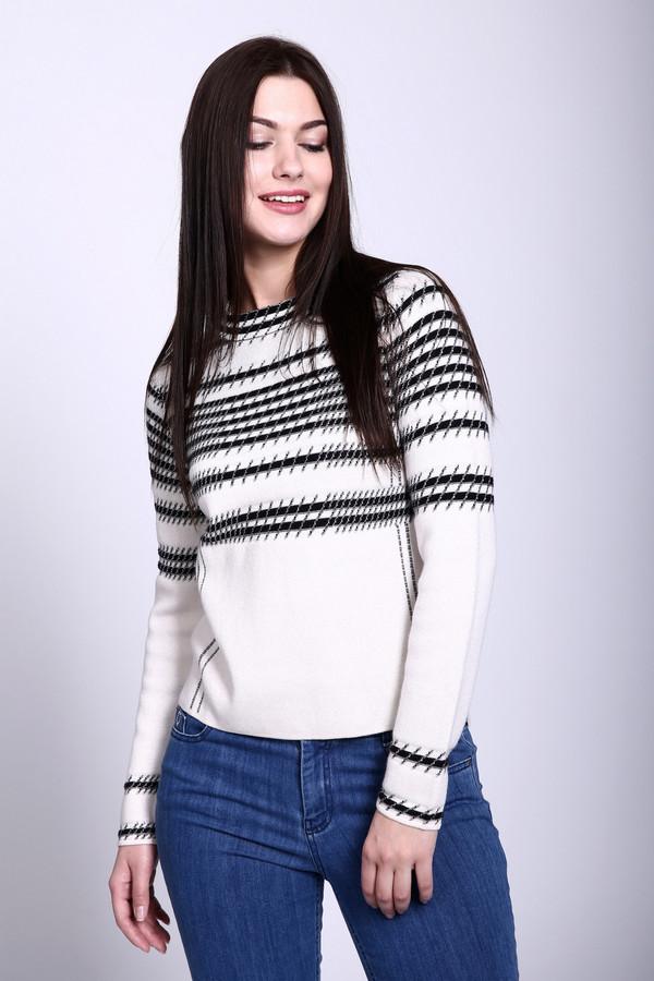 Пуловер TaifunПуловеры<br>Пуловер фирмы Taifun белого цвета. Ткань состоит из 45 % вискозы, 12 % хлопка, 35 % полиамида и 8 % шерсти. Модель дополнена круглым воротом с застежкой молния длинными рукавами. Пуловер выполнен прямым фасоном. Горизонтальные полосы черного цвета смотрятся очень оригинально и пуловер будет очень эффектно смотреться с брюками.<br><br>Размер RU: 44<br>Пол: Женский<br>Возраст: Взрослый<br>Материал: полиамид 35%, хлопок 12%, вискоза 45%, шерсть 8%<br>Цвет: Белый