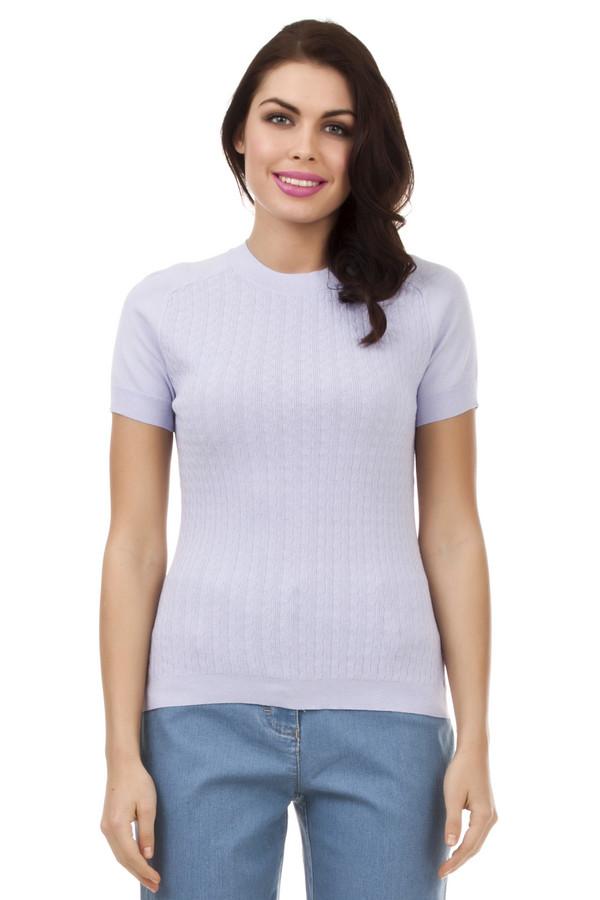 Пуловер PezzoПуловеры<br>Стильный женский пуловер от бренда Pezzo. Данный пуловер представлен в светло-голубом пастельном оттенке. Он выполнен из вискозы, с добавлением нейлона, в технике мелкой вязки в небольшими объемными узорами. Изделие дополнено круглым вырезом на резинке, коротким рукавом и низом на резинке.<br><br>Размер RU: 52<br>Пол: Женский<br>Возраст: Взрослый<br>Материал: вискоза 65%, нейлон 35%<br>Цвет: Сиреневый