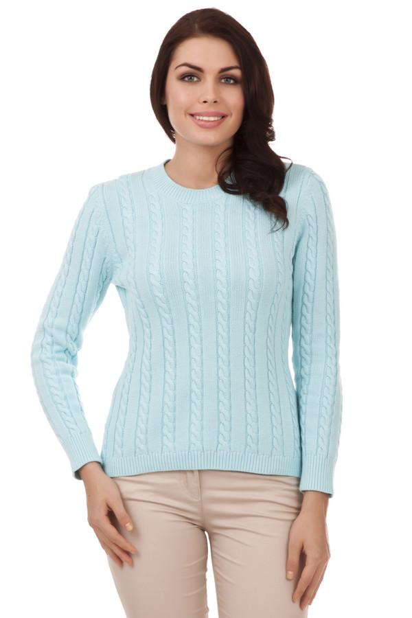 Пуловер PezzoПуловеры<br>Классический женский пуловер от бренда Pezzo. Данный пуловер представлен в пастельном светло-голубом оттенке и выполнен в технике средней вязки с классическим объемным узором «коса». Изделие дополнено: круглым вырезом, длинным рукавом и низом на резинке.<br><br>Размер RU: 52<br>Пол: Женский<br>Возраст: Взрослый<br>Материал: хлопок 100%<br>Цвет: Голубой