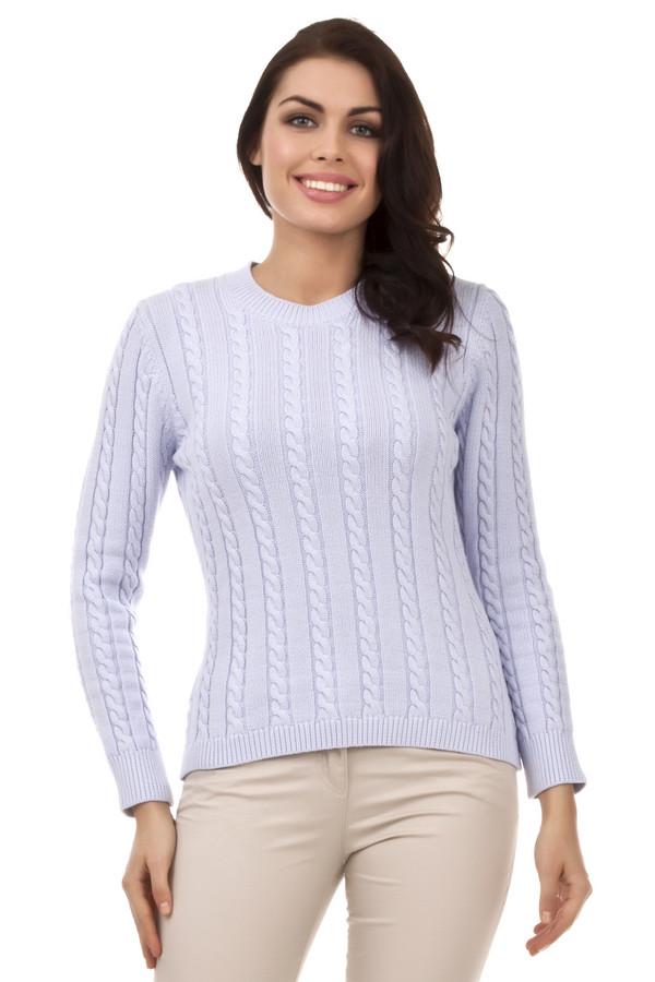 Пуловер PezzoПуловеры<br>Классический женский пуловер от бренда Pezzo. Данный пуловер представлен в пастельном светло-сиреневого оттенке и выполнен в технике средней вязки с классическим объемным узором коса. Изделие дополнено: круглым вырезом, длинным рукавом и низом на резинке.<br><br>Размер RU: 52<br>Пол: Женский<br>Возраст: Взрослый<br>Материал: хлопок 100%<br>Цвет: Сиреневый
