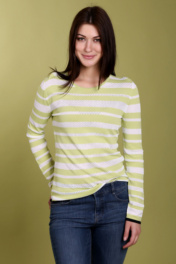 Пуловер PezzoПуловеры<br>Стильный женский пуловер от бренда Pezzo. Это пуловер желтого цвета, в белую полоску. У данного изделия круглый воротник и длинный рукав. По составу, материал изделия включает в себя 63% вискозы и 37% нейлона.<br><br>Размер RU: 44<br>Пол: Женский<br>Возраст: Взрослый<br>Материал: вискоза 63%, нейлон 37%<br>Цвет: Зелёный