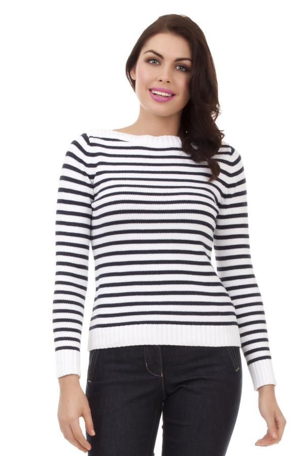Пуловер PezzoПуловеры<br>Модный женский пуловер от бренда Pezzo. Данный пуловер в черно-белую полоску, выполнен в технике мелкой вязки из 100% натурального хлопка. Изделие дополнено вырезом-лодочкой и длинным рукавом, а также резинками на рукавах и в нижней его части.<br><br>Размер RU: 46<br>Пол: Женский<br>Возраст: Взрослый<br>Материал: хлопок 100%<br>Цвет: Белый