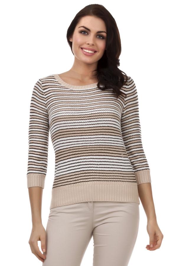 Пуловер PezzoПуловеры<br>Женский пуловер от бренда Pezzo. Данная модель выполнена в технике крупной вязки и представлена в бежевом цвете, в черную и белую полоску. Изделие дополнено: круглым вырезом на резинке, рукавом три четверти на резинке, а также низом на резинке. Этот пуловер сделан из акрила с добавлением вискозы.<br><br>Размер RU: 46<br>Пол: Женский<br>Возраст: Взрослый<br>Материал: вискоза 12%, акрил 88%<br>Цвет: Бежевый