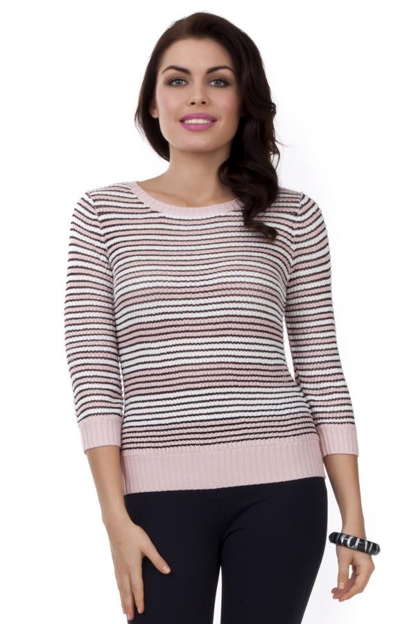 Пуловер PezzoПуловеры<br>Женский пуловер от бренда Pezzo. Данная модель выполнена в технике крупной вязки и представлена в розовом цвете, в черную и белую полоску. Изделие дополнено: круглым вырезом на резинке, рукавом три четверти на резинке, а также низом на резинке. Этот пуловер сделан из акрила с добавлением вискозы.<br><br>Размер RU: 44<br>Пол: Женский<br>Возраст: Взрослый<br>Материал: вискоза 12%, акрил 88%<br>Цвет: Разноцветный