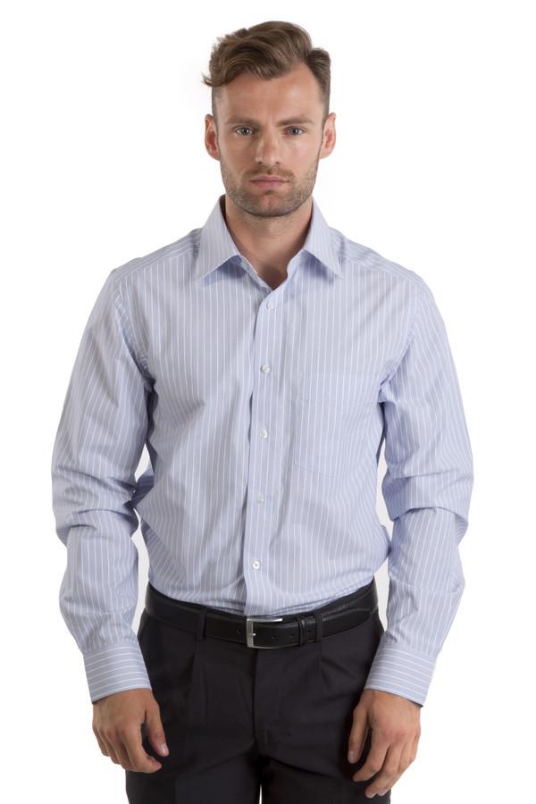 Рубашка с длинным рукавом PezzoДлинный рукав<br>Классическая рубашка в полоску Pezzo приталенного кроя. Изделие дополнено: классическим воротником, длинными рукавами и манжетами с застежкой на пуговицах. Центральная часть застегивается на пуговицы.<br><br>Размер RU: 41<br>Пол: Мужской<br>Возраст: Взрослый<br>Материал: полиэстер 48%, хлопок 52%<br>Цвет: Голубой
