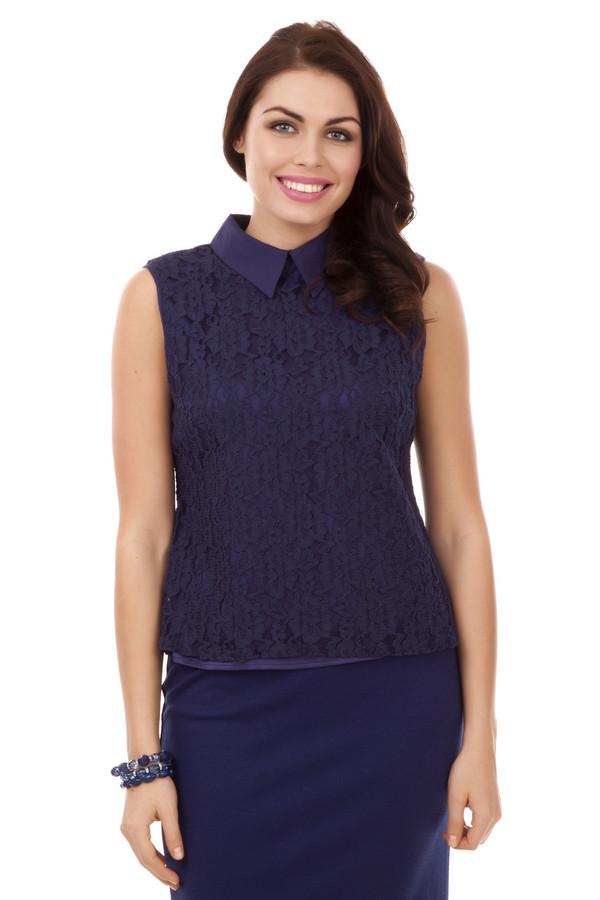 Блузa PezzoБлузы<br>Кружевная темно-синяя блуза Pezzo приталенного кроя. Изделие дополнено: отложным воротником и застежкой пуговица-петля на спинке.<br><br>Размер RU: 44<br>Пол: Женский<br>Возраст: Взрослый<br>Материал: хлопок 70%, нейлон 30%<br>Цвет: Синий