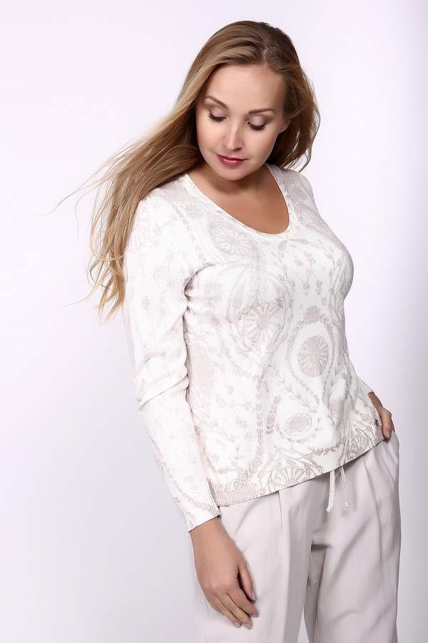 Пуловер LuciaПуловеры<br>Пуловер бежевого цвета фирмы Lucia. Ткань состоит из 40% полиакрила, 15% полиамида и 45% модала. Модель выполнена прямым покроем. Пуловер дополнен круглым воротом, длинными рукавами. По низу пуловера и рукава расположена манжета. Изделие имеет принт. Пуловер обновит ваш образ и поможет выглядеть стильно.