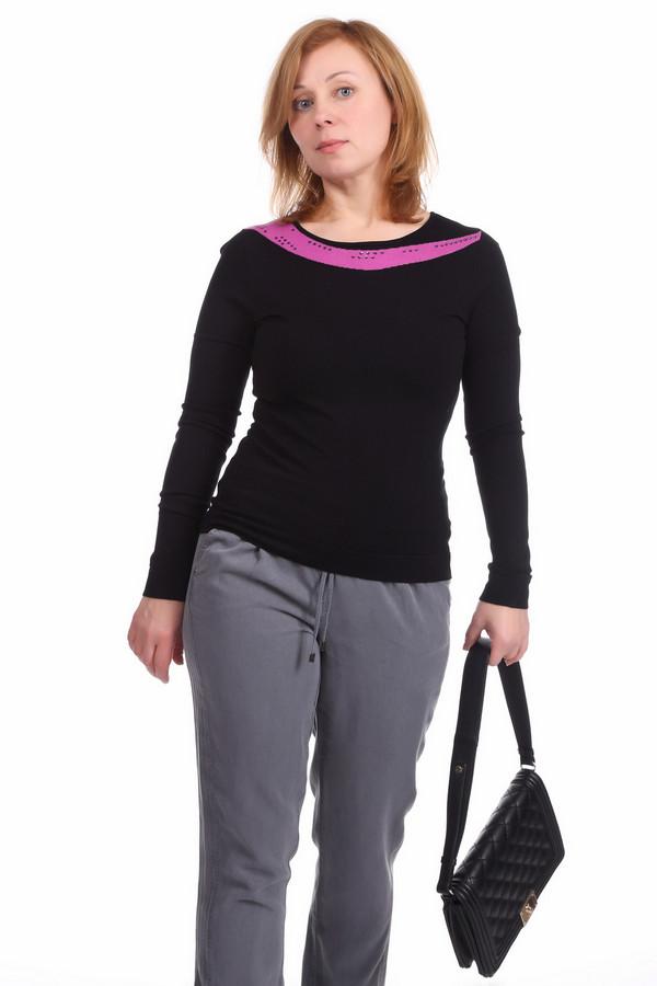 Пуловер PezzoПуловеры<br>Пуловер для женщин от бренда Pezzo. Это пуловер черного цвета с вставкой цвета фуксии. Изделие выполнено из вискозы с добавлением нейлона. Оно дополнено круглым вырезом, длинным рукавом, а также фиолетовыми квадратными стразами.<br><br>Размер RU: 48<br>Пол: Женский<br>Возраст: Взрослый<br>Материал: вискоза 80%, нейлон 20%<br>Цвет: Чёрный