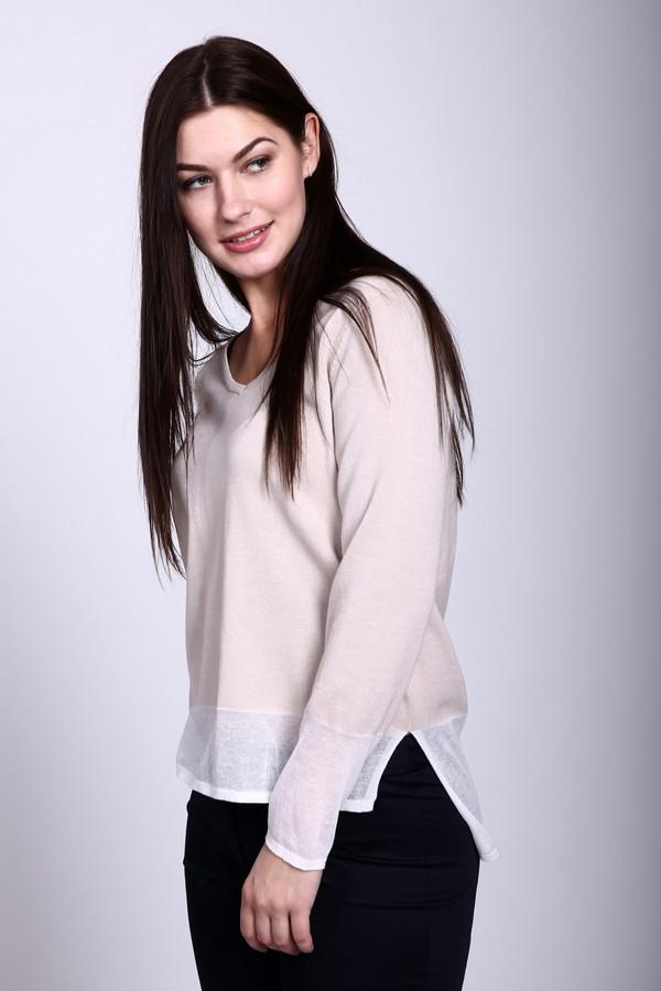 Пуловер LuciaПуловеры<br>Пуловер бежевого цвета фирмы Lucia. Ткань состоит из 45% полиакрила, 54% хлопка и 1% полиамида. Модель выполнена прямым покроем. Пуловер дополнен округлым воротом, длинными рукавами, боковыми разрезами. По низу пуловера расположена баска. Рукав заканчивает широкая манжета. Гармонировать может с брюками облегающего покроя.