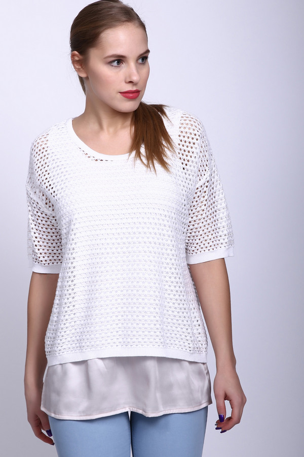Пуловер LuciaПуловеры<br><br><br>Размер RU: 48<br>Пол: Женский<br>Возраст: Взрослый<br>Материал: хлопок 46%, полиэстер 1%, полиакрил 46%, вискоза 7%<br>Цвет: Белый