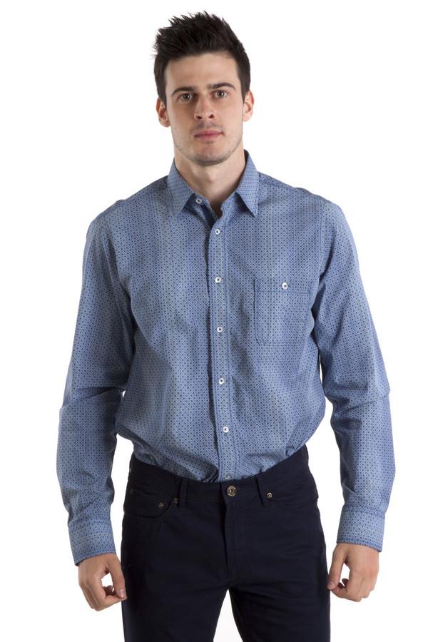Рубашка с длинным рукавом Casa ModaДлинный рукав<br>Классическая рубашка Casa Moda прямого кроя выполнена из хлопкового материала темно-синего цвета с эффектом градиент. Изделие дополнено: отложных воротником, втачными рубашечными рукавами с манжетами на пуговицах, одним нагрудным карманом с застежкой-пуговица и планкой на пуговицах. Рукава оформлены заплатками на локтях. Рубашка декорирована геометрическим принтом.<br><br>Размер RU: 39-40<br>Пол: Мужской<br>Возраст: Взрослый<br>Материал: хлопок 100%<br>Цвет: Синий