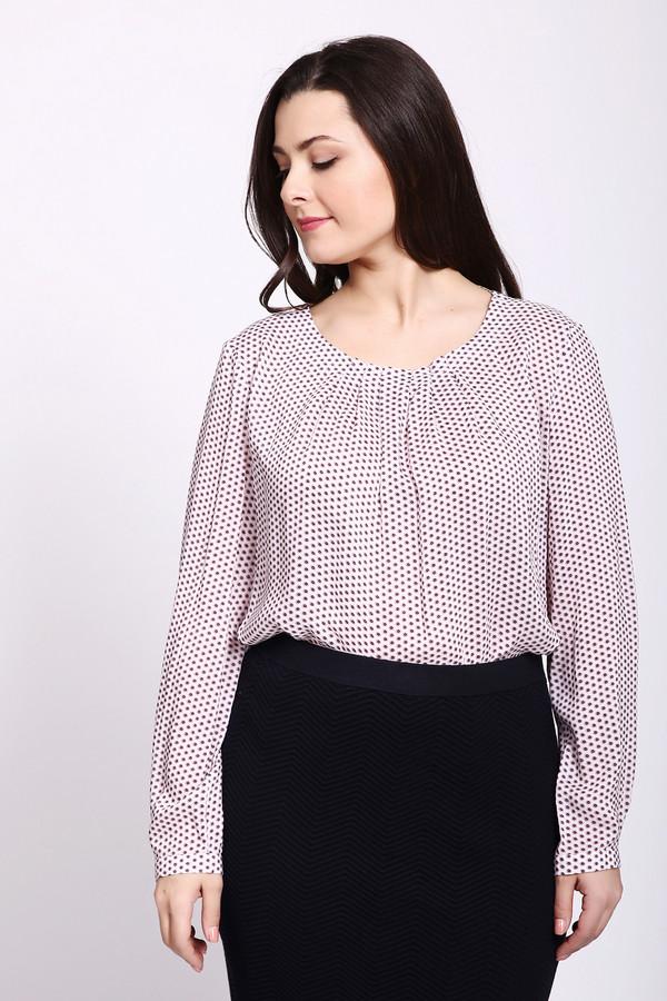 Блузa Gerry WeberБлузы<br>Блуза женская с принтом фирмы Gerry Weber. Модель выполнена прямым покроем. Блуза дополнена округлым воротом, застежка на пуговицу, втачными, длинными рукавами с манжетами на пуговицу. На передней части ворота расположены складки, которые придают пышность. Такая модель может гармонировать с различными юбками и брюками.