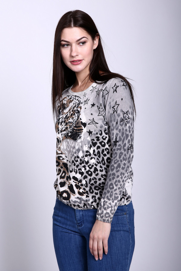 Пуловер OuiПуловеры<br><br><br>Размер RU: 48<br>Пол: Женский<br>Возраст: Взрослый<br>Материал: хлопок 100%<br>Цвет: Серый