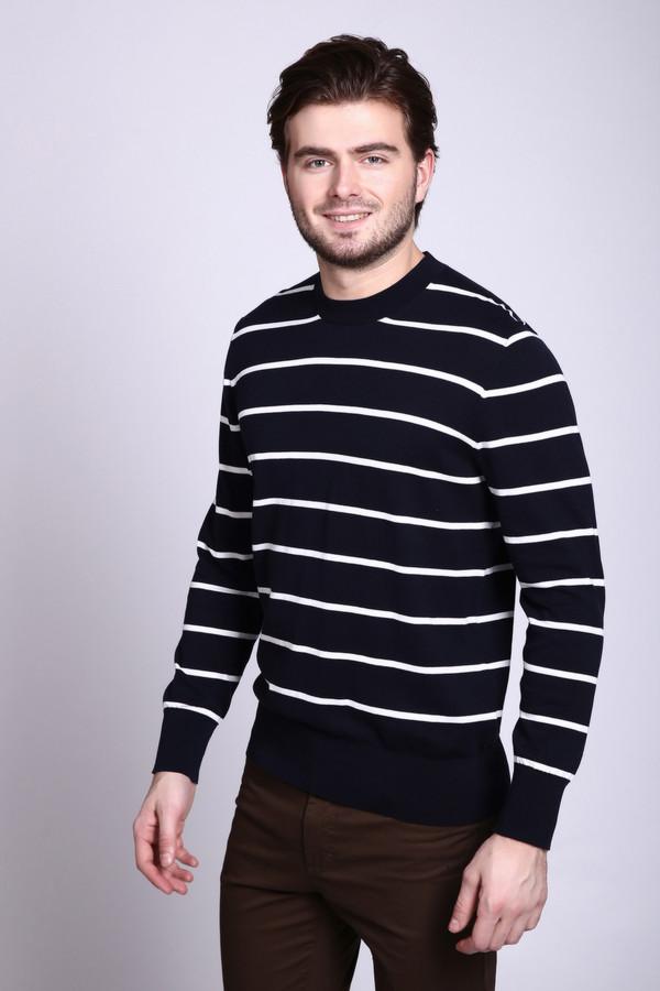 Джемпер Just ValeriДжемперы и Пуловеры<br>Джемпер мужской черного цвета фирмы Just Valeri. Ткань состоит из 100% хлопка. Модель выполнена прямым покроем. Джемпер дополнен круглым воротом, втачными, длинными рукавами. Полотно имеет полосатый принт. Такая модель объединит наряд и создаст трендовый комплект.