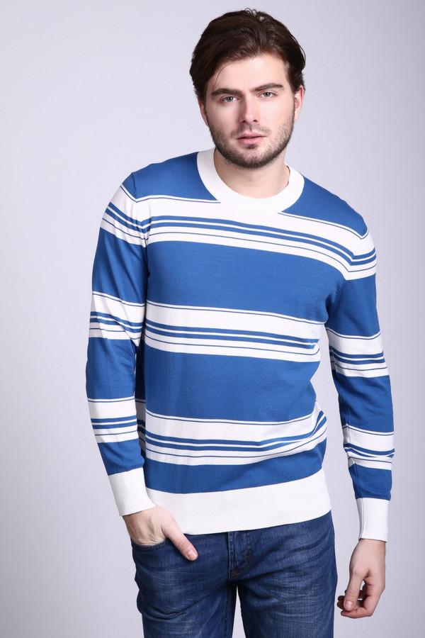 Джемпер Just ValeriДжемперы и Пуловеры<br>Джемпер мужской синего цвета фирмы Just Valeri. Ткань состоит из 100% хлопка. Модель выполнена прямым покроем. Изделие дополнено круглым воротом, втачными, длинными рукавами. Джемпер можно носить с брюками и джинсами. Ткань имеет разные по ширине полосы белого цвета. Такой джемпер очень удобен и практичен.